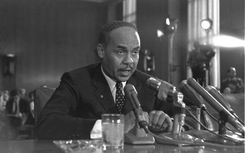 Ralph Ellison testifies at a Senate hearing on the racial problems in big cities.