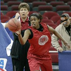 North Carolina State coach Kay Yow watches player Sharnise Beal during practice in Raleigh, N.C.