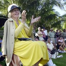 Betty Jameson cheers during the second round of the LPGA Tyco/ADT Championship in 2001