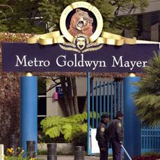 The front of the entrance of the Metro-Goldwyn-Mayer studios in Santa Monica, California